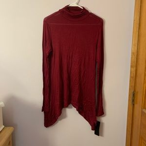 Red long Sleeve Angled Top